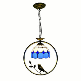 hanging circle lights Australia - Tiffany Bird Circle Corridor Pendant Lamp Bar Counter Balcony Glass Hanging Light Hallway Mediterranean Dining Room Drop Lights