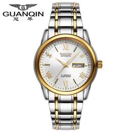 54f84f919530 Marca de lujo superior GUANQIN relojes mecánicos de los hombres de moda a  prueba de agua de zafiro luminoso completo relojes de acero hombres Relogio  ...