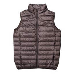 sleeveless army jacket Canada - New Autumn Winter White Duck Down Vest Men Ultra Light Duck Down Waistcoat Outwear Male Warm Vest Coat Sleeveless Jacket SF537