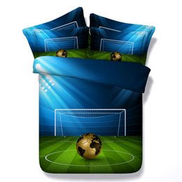 Boys Queen Beds NZ - 3D football Duvet Cover bedding sets queen soccer Bedspreads Holiday Quilt Covers Bed Linen Pillow Covers blue green for boys adults men