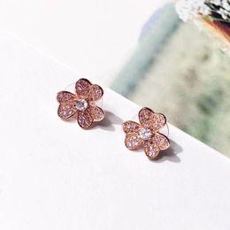 $enCountryForm.capitalKeyWord Australia - 2018 Fashion women's diamond stud earrings six-petal earrings Asian gold pure copper material micro-inlaid zircon earrings jewelry