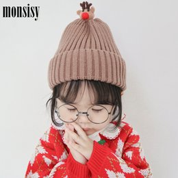 Baby Crochet Rabbit NZ - Monsisy Winter Baby Hat For Boys Girls Cap Kids Warm Wool Knitted Beanie Toddler Fox Deer Rabbit Hat Children Crochet Touca Cap