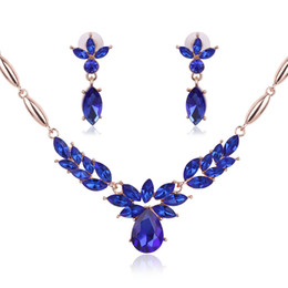 ruby crystal bridal necklace sets UK - Blue Jewelry Gold Plated Necklace Set Fashion Flowers Diamond Wedding Bridal Costume Jewelry Sets Party Ruby Jewelrys(Necklace + Earrings)