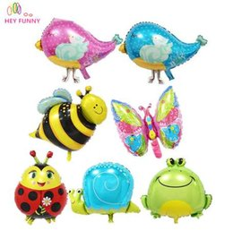 baby snail toys NZ - HEY FUNNY 5 pcs lot foil mini snail bird toy balloons bee butterfly animal balloon For birthday party&baby shower decoration