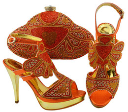 matching shoes clutches Canada - New Arrival Orange Shoes and Bag To Match Women African Party With Rhinestones Sandal Shoes And Bag Clutches
