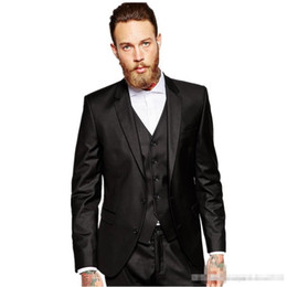 harris tweed tie 2019 - Custom Design Best Men's business suit Notched Lapel Side Vent Black Groom Tuxedos Men Party Groomsmen Suits(Jacket