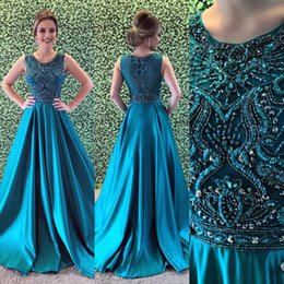Cheap Hunter A-line Prom Dresses 2018 Sexy Jewel Long Prom Dresses Satin Evening  Gowns With Sparkly Crystals Beaded Bodice For Teens From plus size teen ... f496aefd8cf7