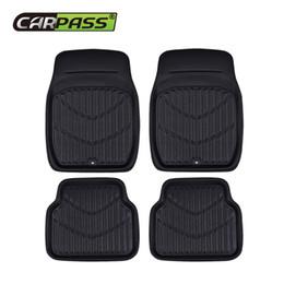 Wholesale Car-pass Universal Car Floor Mats Foot Mat Front Rear Auto Interior Anti-Slip Mat Red Black Car Styling PU Leather Waterproof