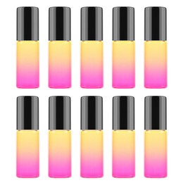 $enCountryForm.capitalKeyWord Australia - 5ml 10 Styles Gradient Color Glass Roll on Essential Oil Empty Perfume Bottles With Metal Roller Ball Glass Vials For Sale