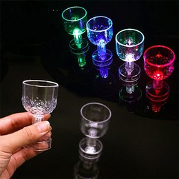 plastic goblets 2019 - Colorful LED Cup Flashing Shot Glass Plastic Luminous Neon Birthday Party Night Bar Wedding Beverage Wine Flash Small Go