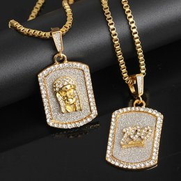 Discount gold dog tags wholesale - Sand Blast Dog Tag Pendant Necklace Alloy Gold Color Charm Iced Out Rhinesstone Emoji 100 Men's Hip Hop Jewelry Gif