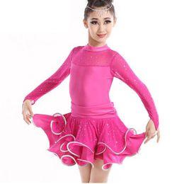 a5ff3b1d8f1d Slim Veil Child Girls Latin Dance Dress Costumes Long Sleeve Ballroom Dance  Costume Professional Latin Leotards For Girl