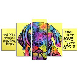 $enCountryForm.capitalKeyWord UK - 5 Pieces Colour Abstract Animal Labrador Dog Modern Home Wall Decor Canvas Picture Art HD Print Painting On Canvas No Frame