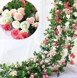 $enCountryForm.capitalKeyWord NZ - 2.45m Long Silk Rose Flower Ivy Vine Leaf Garland Wedding Party Home Decoration