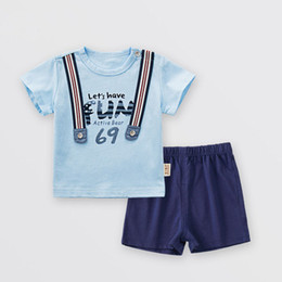 Chinese  2018 summer children's clothing baby clothes cotton fashion male baby pants 1-3 years old boy two-piece suit manufacturers