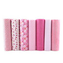 pink patchwork bag NZ - 7pcs Pink Floral Patchwork Cotton Fabric Fat Quarter Bundles Sewing Textile Patchwork Fabric For Bags Baby Clothes 50x50cm J-7-1