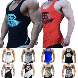 Wholesale tank sharks for sale - Group buy Gym wear Shark Fitness Men Sleeveless Bodybuilding Superman Camouflage Tights Sexy raceback stringer Singlet Vest Tank Top M XL