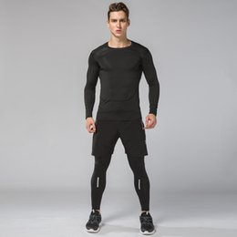 Discount clothes for basketball - New Compression Running Sets Men Basketball Sports Suit Gym Fitness Tights Clothes For Men Running Joggers Sports Traini