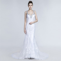 Sexy Mermaid Style Wedding Dresses UK - Sexy White Mermaid Wedding Dress European Style Spaghetti Shining Sequins Beads along the strap Backless Lace Beach Wedding Dresses
