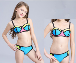 afe503cc77d Girls Two-piece Bikini Swimwear Sexy New Fashion Swimming Suit Patchwork  Color Bra Trunks Super Nylon Breathable Soft LC749
