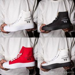 68477f479073c 2018 New Y3 Bashyo High Top Womens Mens Sneakers Triple Nero Bianco Rosso  Stivali di alta qualità Scarpe da corsa Scarpe da corsa Y-3 Chaussures