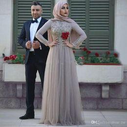 long sleeve chiffon party dress hijab 2019 - Long Sleeves Silver Muslim Evening Dresses Scoop Neck Crystal Beaded Floor Length Hijab Prom Dresses Saudi Arabic Evenin