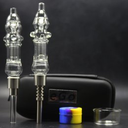 nectar collector kit prices NZ - Factory Price 510 Thread Mini Nectar Collector Kit Glass Water Bongs Pipes With Titanium Nail Silicon Jar Wax Dabber EGO Zipper Case