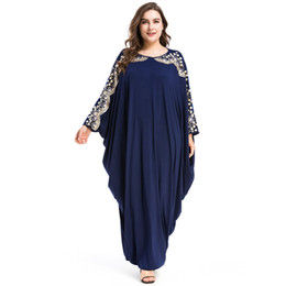 5d2e304903 Talla grande Calidad Nuevo Árabe Elegante Suelta Abaya Kaftan Moda Islámica  musulmana Vestido de diseño Diseño Mujeres Azul marino Dubai Abaya