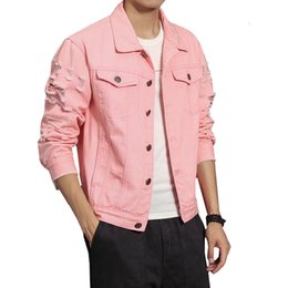 Wholesale Denim Jacket Men Ripped Holes Pink Black Jean Jackets Pure color New Garment Washed Male Denim Coat Large Size M XL
