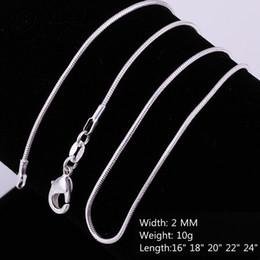 b5e81529f3bd Barato venta al por mayor de plata de ley 925 2 MM serpiente lisa cuerda  collares cadenas para mujeres hombres joyería de moda en tamaño a granel  16-24 ...