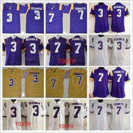 2d1c93764 Youth Women LSU Tigers 3 Odell Beckham JR. 7 Leonard Fournette purple white  Limited Legand College football jerseys