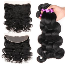 unprocessed human hair piece 2019 - 13x4 Ear To Ear Lace Frontal Closure With Bundles Unprocessed Peruvian Virgin Body Wave Human Hair Weaves Full Lace Fron