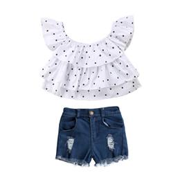 62647d244 2018 Newborn Toddler Kids Baby Girls Clothes Sleeveless T Shirt Tee Tops+ Denim Pants Outfits Set