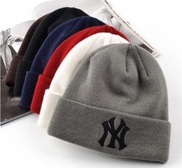 Red beanie foR women online shopping - 2018 New NY Winter Baseball Colors Wool knitted hats for men and women Baseball Beanies Lovers caps Free Drop Shipping Mix Order