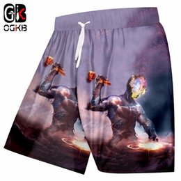 Stars Trousers NZ - OGKB Men's Summer Beach Shorts Print Nebula Star 3D Pattern Shorts Man High Waist Elastic Pocket Boardshorts Trousers Plus Size