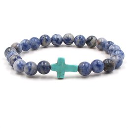 blue veins stone 2018 - Cross Bracelet Natural White Dot Blue-vein Sodalite stone beads bracelets for women Luxury jewelry round Natural Stone B