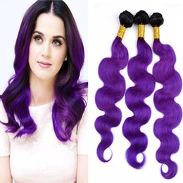 ombre hair extensions 22 inch NZ - Dark Roots Two Tone 1B and Purple Color Hair Extension 10-30 Inch Ombre 1B Violet Body Wave Hair Weft 3Bundles Free Shipping