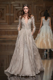 HigH neckline lace prom dresses online shopping - Gorgeous Evening Dresses Luxury Feather Long Sleeve Beads Wear Sheer V Neck Crystal Sweep Train Custom Made pageant Party Prom Gowns