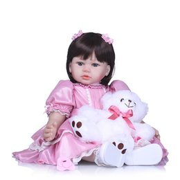 bear dolls UK - Bebe reborn toddler girl princess dolls 58cm vinyl silicone reborn baby dolls with bear plush children gift toys