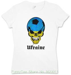Woman Fans Australia - Women's Tee Classic Ukraine Footballer Soccerite Skull Woman Girlie T-shirt - Fan Hooligan Shirt Movie Shirt