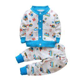 d068e10478f5 China Autumn winter children sweater clothing set baby girls boys cartoon  printed warm clothes set kids