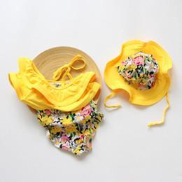 Swimwear hat SetS online shopping - Children girls Floral print Swimwear hat Lotus leaf collar One Pieces set summer baby Bikini Kids Swimsuit C3955