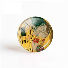 2018 New Gustav Klimt Le Baiser À La Main Photo Cabochons Dôme Romantique De Mariage En Verre De Verre Bijoux Valentines Cadeau