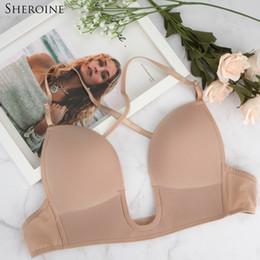 8af4b787af904 U Plunge Bras Australia - Sheroine Sexy Satin Invisible Plunge Bra Women Deep  U Backless Bras