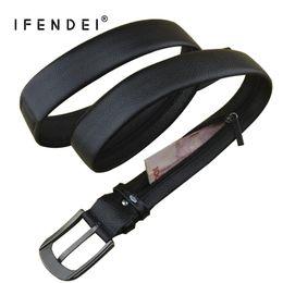 Genuine Leather Waist Strap Belts NZ - IFENDEI Cowhide Zipper Belt Men's Luxury Hidden Money Belt Genuine Leather Secret Pocket Cinto Waist Pin Buckle Strap For Money