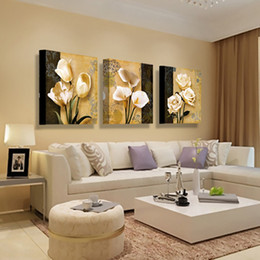 calla lilies painting 2019 - Orchid Calla lily lavender sunflower Peony Art Oil Wall Picture 3 Panel Modern canvas prints painting Home Decoration fl