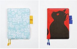Cat notebook notepad online shopping - time stage design A6 a5 notebook stationery diary billbook hobonichi style hobo cover notebook new collection cat leafs