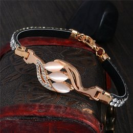 Gold chain link wrap bracelet online shopping - Atreus New Promotion Styles Unusual Opal Crystal Design pc Gold Color Woman Alluring Wrap leather bracelet for women