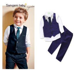 Kids Boy Gentleman Suits Ins Baby Clothes Pullover Necktie Vest Neckline Emboss Studs Collar Spring Autumn Boutique Clothing Sets on Sale