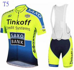 Chinese  Nine styles tour de france cycling jerseys Bike Suit cycling jersey Tinkoff saxo 9 colors cycling jersey +short Bib Pants sets manufacturers